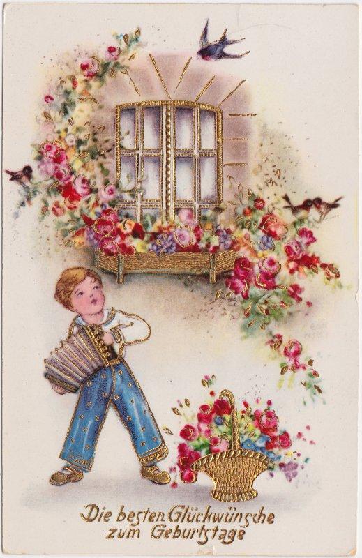 Prägekarte - Junge mit Instrument - Geburtstag