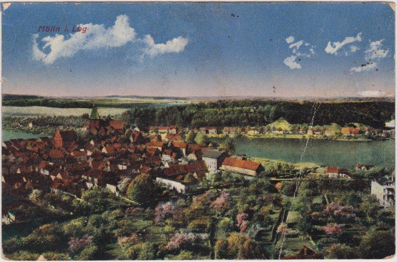 Mölln (Schleswig-Holstein) Blick auf die Stadt mit Stadtsee 1921