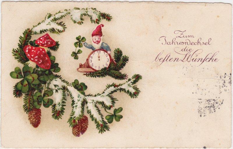 Neujahr - Zwerg mit Uhr - Fliegenpilze, Kleeblatt
