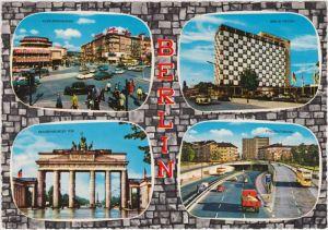 Tiergarten-Berlin 4-Bild: Kurfürstendamm, Brandenburger Tur, Stadtautobahn, Hilton