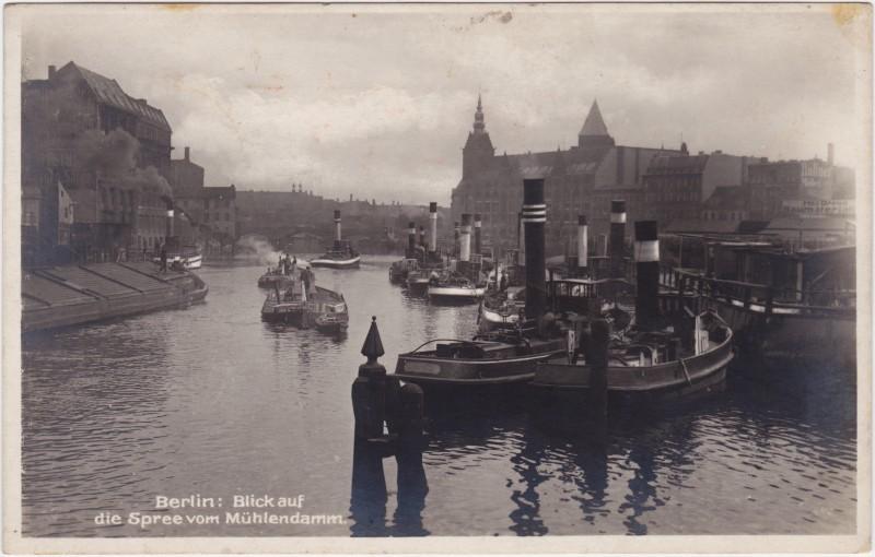 Berlin Spree vom Mühlendamm- Dampfer (Fotokarte)