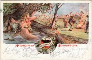 Sonnwendfeier - Bund der Deutschen in Böhmen - Künstlerkarte 1913