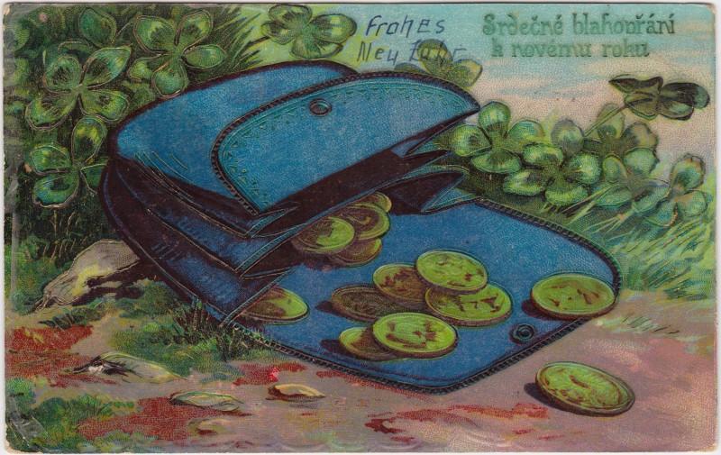 Neujahrwünsche Mappe Mit Münzen U Kleeblätter 1916 Nr 38787