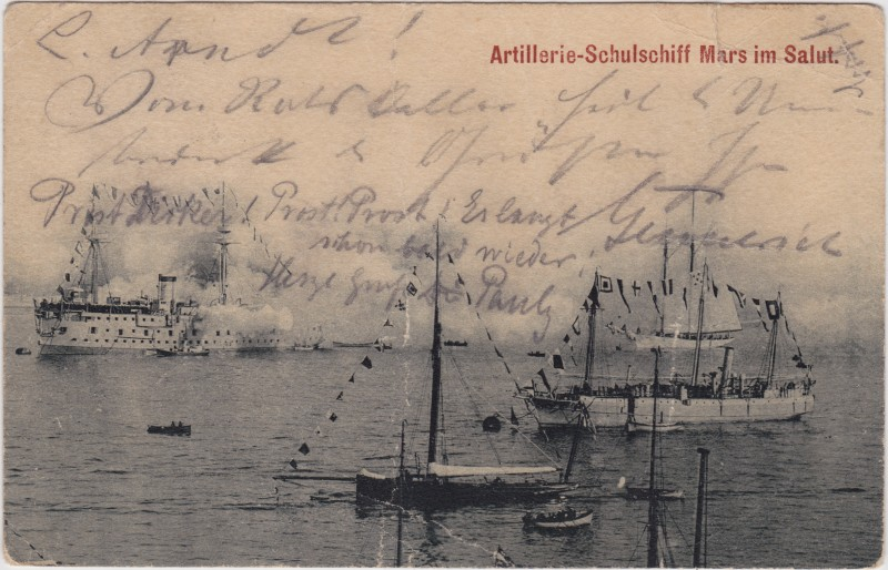Artillerie-Schulschiff Mars im Salut 1901