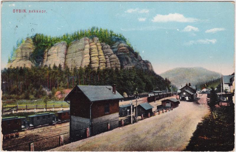 Oybin Partie am Bahnhof - Gleisanlage und Züge 1928