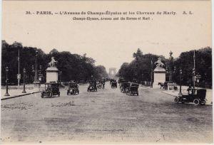 Paris Avenue des Champs-Elysées - autos CPA Ansichtskarte 1920