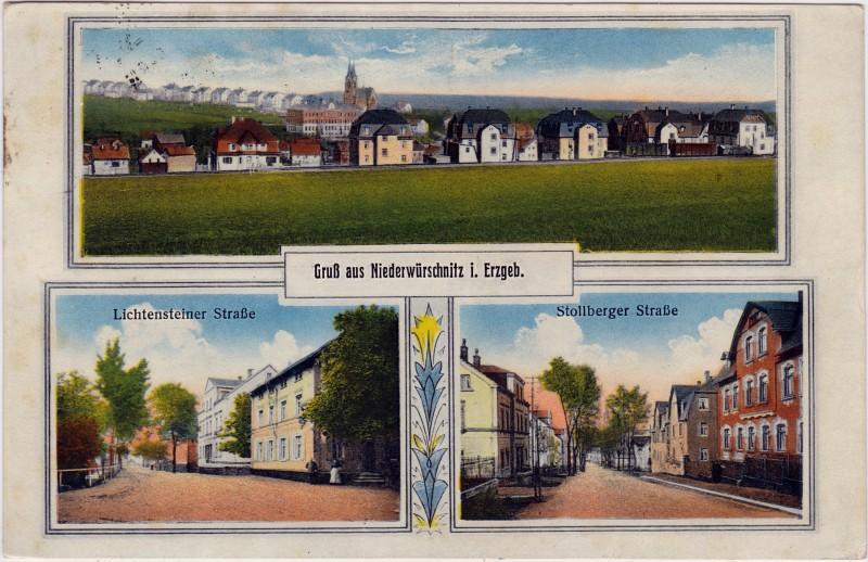 Niederwürschnitz-Lugau (Erzgebirge) 3 Bild: Totale, Lichtensteiner Strasse und Stollbergerstrasse 19