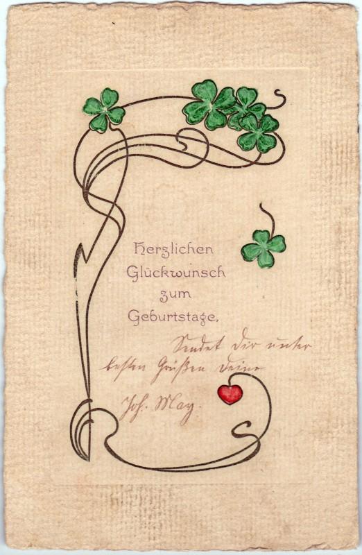 Geburtstag - Jugendstil - Kleeblatt 1909
