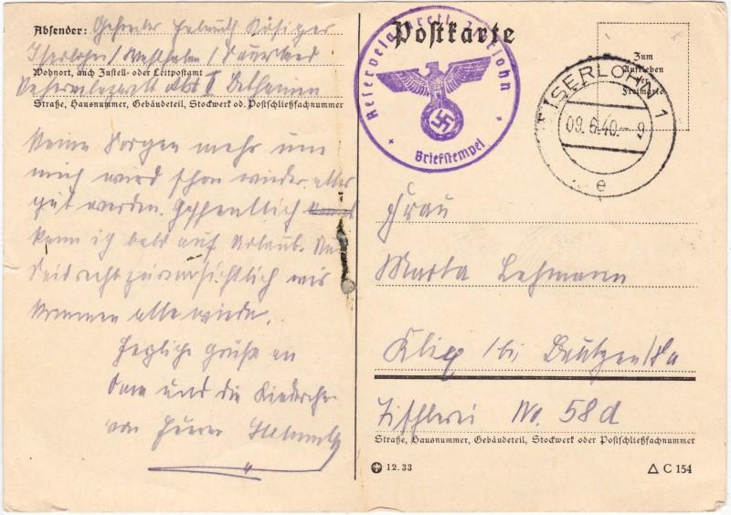 Karte mit Absenderangaben und Briefstempel 1940