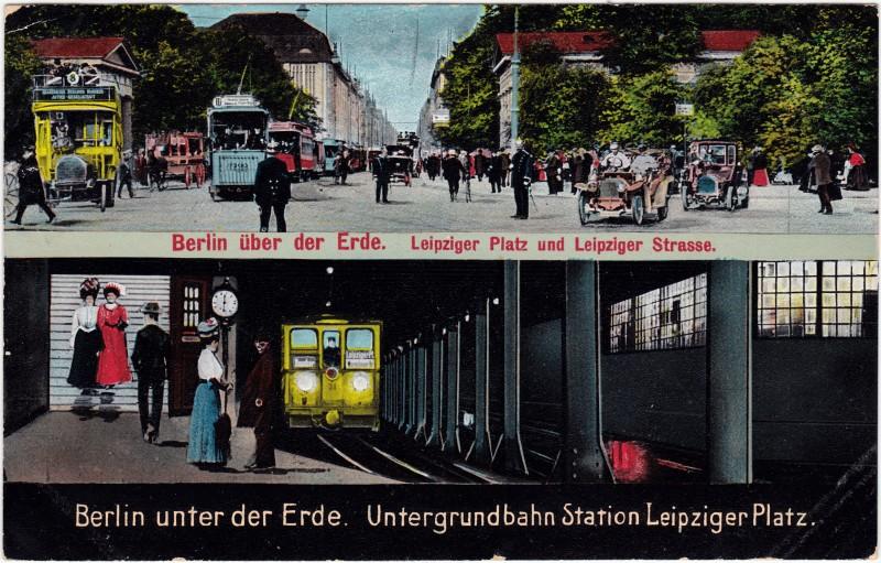 Mitte-Berlin Leipziger Strasse und Leipziger Platz - U-Bahnstation - 2 Bild 1909