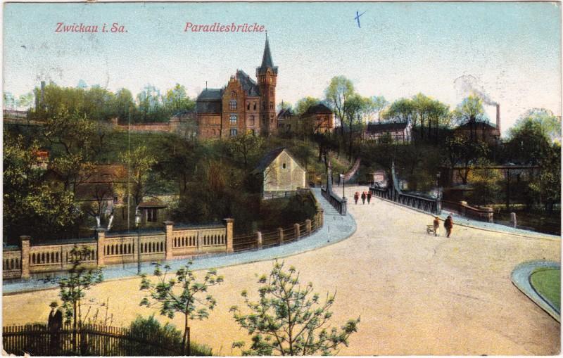 Zwickau Straßenpartie an der Paradiesbrücke 1911