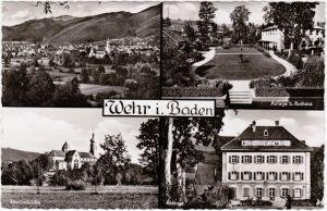 Ansichtskarte Wehr (Baden) Rathaus und Anlagen, Martinskirche 1959