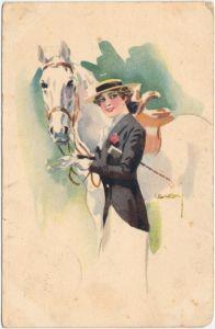 Reiterin mit Pferd - Künstlerkarte 1916