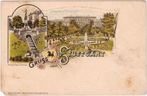 Stuttgart 2 Bild Litho: Polytechnikum und Brunnen 1906