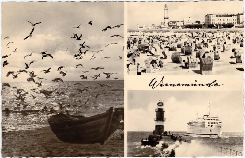 Warnemünde-Rostock Leuchtturm, Strand, Dampfer 1964