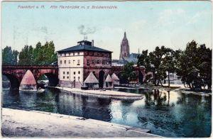 Frankfurt am Main Alte Mainbrücke m. d. Brückenmühle 1914
