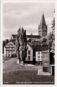 Soest Blick über den großen Teich zum Patrokli-Dom 1955