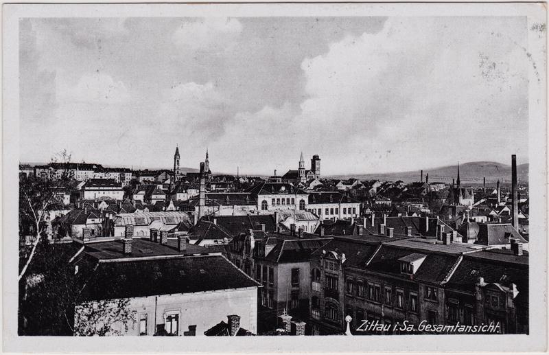 Zittau Blick über die Dächer 1943
