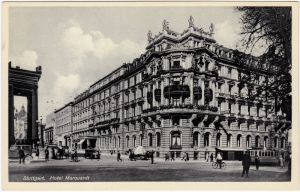 Stuttgart Straßenpartie am Hotel Marquardt 1932