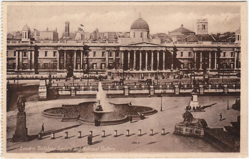 London Trafalgar Square and National Gallery Britain Postcard 1932