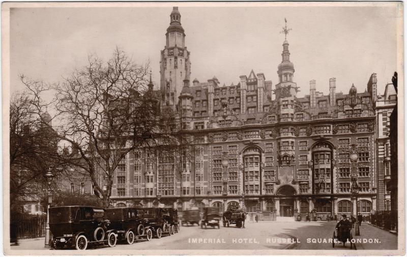 London Imperial Hotel, Russel Square - Oldtimer Foto Postcard 1935