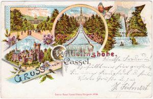 Bad Wilhelmshöhe-Kassel Cassel Gruss von der Wilhelmshöhe Mehrbild Litho 1905