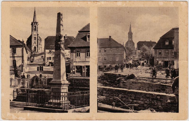 Bad Gottleuba-Bad Gottleuba-Berggießhübel Platz an der Brücke - vor und nach dem Hochwasser 192