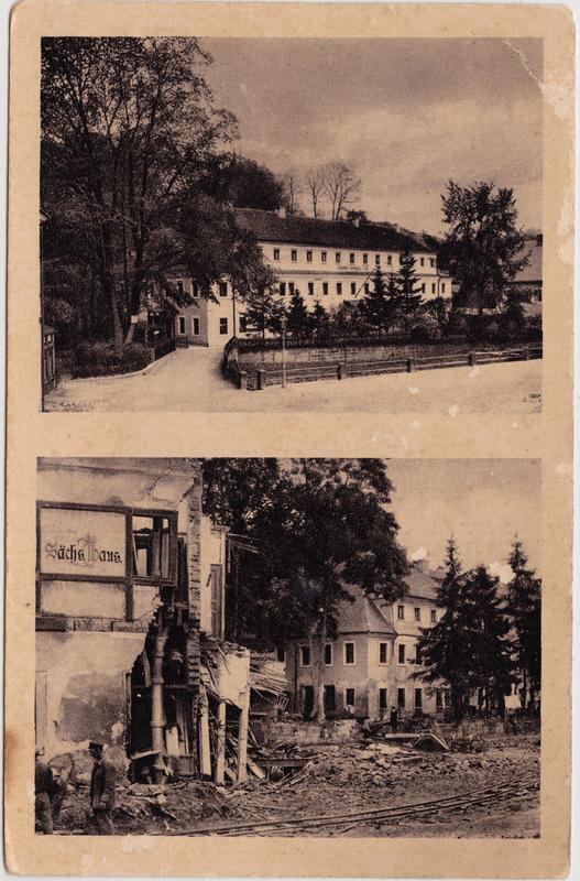 Bad Gottleuba-Bad Gottleuba-Berggießhübel Am Johann-Georgen-Bad - vor und nach der Katastrophe am 8.