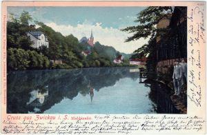 Zwickau Partie an der Mulde 1900