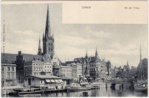 Lübeck Partie an der Trave - Dampferanlegestelle 1913