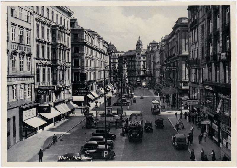 Wien Graben - Geschäfte, Autos 1940