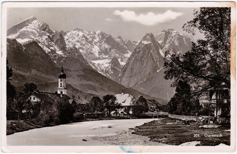 Foto Ansichtskarte Garmisch-Garmisch-Partenkirchen Flussansicht 1959