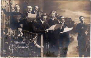 Geburtstag Fotomontage Ansichtskarte Glückwunsch Sänger Chor Ständchen 1934