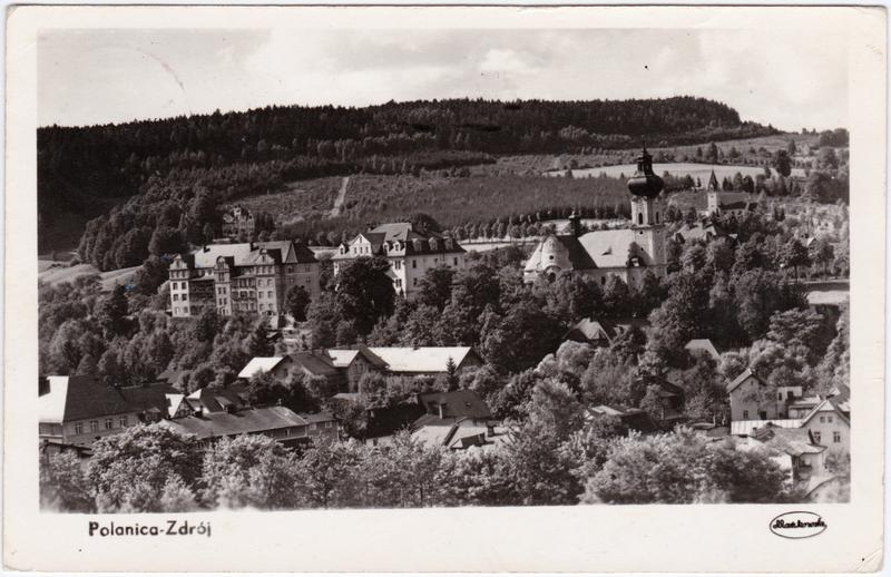 Bad Altheide Polanica-Zdrój Ansicht mit Kirche und Villen 1959