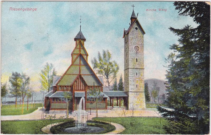 Krummhübel Karpacz Kirche Wang im Riesengebirge Springbrunnen 1912