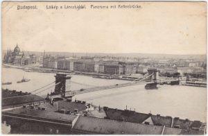 Ansichtskarte  Budapest Látkép a Lánczhiddal 1908