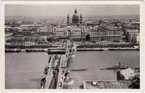 Budapest Dunai látkép mit Kettenbrücke Ansichtskarte Postcard Magyar 1925