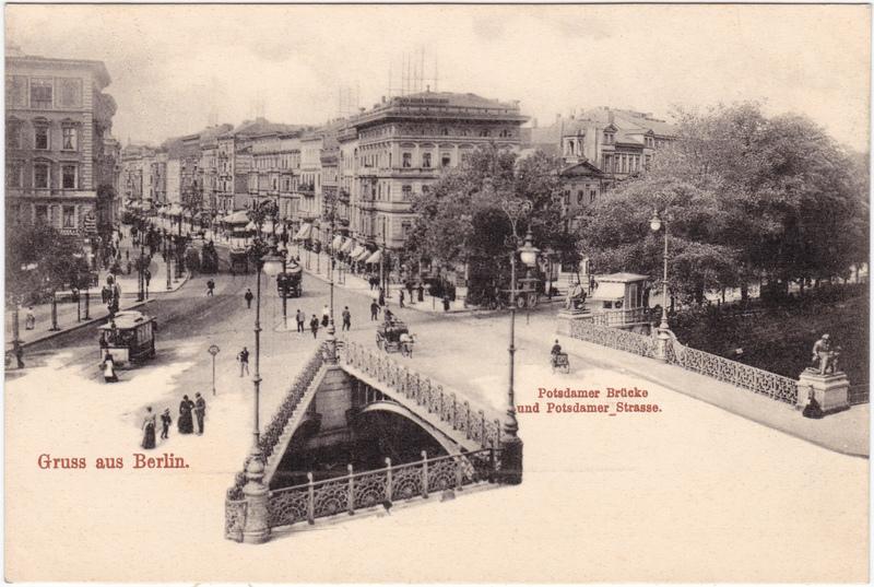 Tiergarten-Berlin Potsdamer Brücke, Potsdamerstraße - Kiosk und Straßenbahn 1908