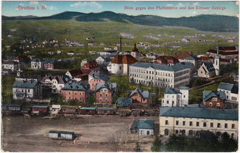 Grottau Hrádek nad Nisou Stadt, Fabrik und Bahnhof 1914