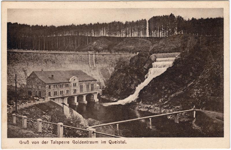 Goldentraum-Marklissa Złotniki Lubańskie Leśna Talsperre Goldentraum im Queistal - Überlauf 1922