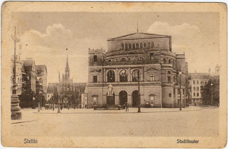Stettin Szczecin Straßenpartie am Stadttheater 1924