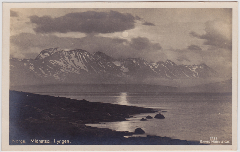 Lyngen Midnatsol  Troms Norge Norway Foto Postcard 1930