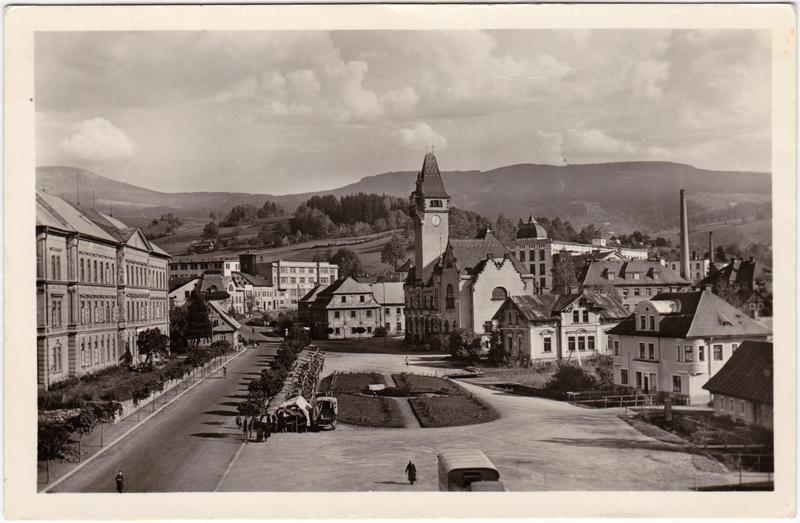 Rochlitz an der Iser Rokytnice nad Jizerou Stadtansicht mit Platz und Kirche 1951