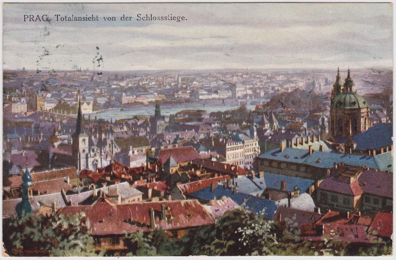 Prag Praha Totalansicht von der Schlossstiege 1910