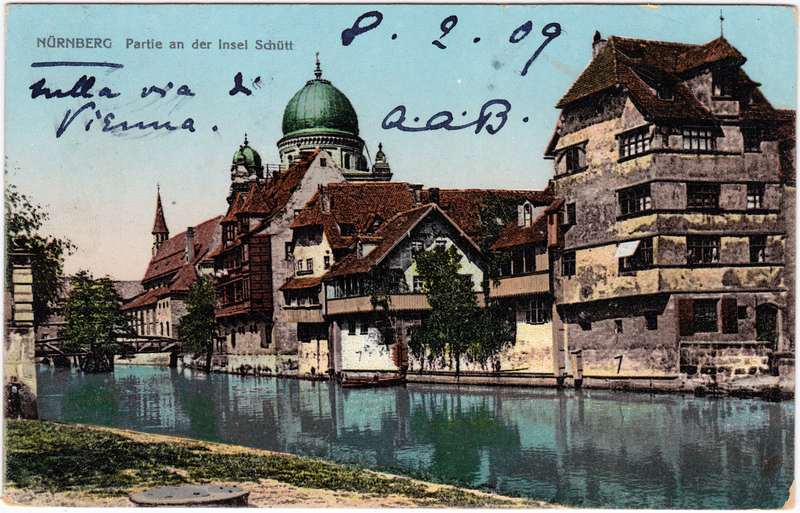 Ansichtskarte Nürnberg Partie an der Insel Schütt 1909