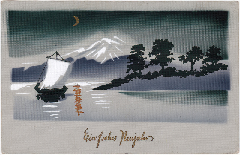Neujahr Silvester: Neujahrsgrüße - Berglandschaft See Boot  Künstlerkarte 1913