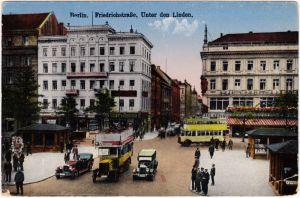 Mitte Berlin Friedrichstraße, Unter den Linden Bus, Auto und Kiosk 1922
