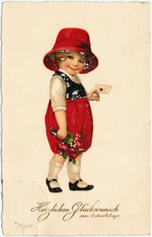 Glückwunsch Geburtstag kleines Mädchen mit Brief und Blumen mit roten Hut 1926