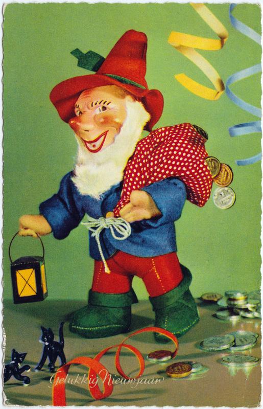 Glückwunsch Neujahr Niederlande mit Zwerg und Geldsack 1968