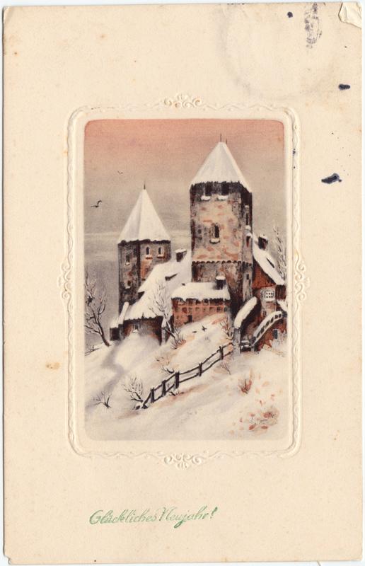 Glückwunsch Neujahr - Eingeschneite Burg 1915